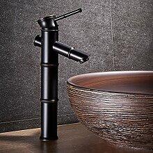 Qwer Schwarz voller Kupfer Waschbecken wasserhahn Continental kreative Werkbank Waschbecken unter Becken einzelne Bohrung heißes/kaltes Wasser