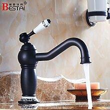 Qwer Schwarz Waschbecken Wasserhahn Heiße und kalte Dusche Badezimmer Schrank Mixer antiker Kunst Waschtischmischer, Niedrig)