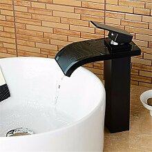 Qwer  Schwarzer Hahn Glas Wasserfall Armatur Sitzbank Waschtisch Armatur Bronze eloxiert Schwarz Mixer Kreative antiken Mixer Badezimmer Armatur