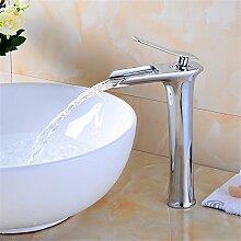 Qwer  Sitzbank Waschtischmischer alle Kupfer heiße und kalte Hubhöhe Tischplatte Wasserhahn Wasserfall Wasser aus Bad Armatur