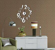 qwer Stilvolle wohnzimmer schlafzimmer Wanduhren tv Hintergrund Dekorationen an der Wand Spiegel Digitale Wanduhr Z033, silber