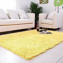 qwer Super Rabatt! Multifunktionshebel Carpet Lounge Couchtisch Teppiche Schlafzimmer Bett- und Wasseraufnahme und rutschfeste, 120*160cm, gelb samt behandelten Polyester