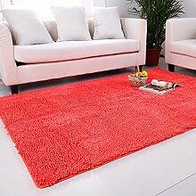 qwer Super Rabatt! Multifunktionshebel Carpet Lounge Couchtisch Teppiche Schlafzimmer Bett- und Wasseraufnahme und rutschfeste, 140*200cm, Tangerine Orange