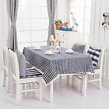 qwer Tablecloths Amerikanische minimalistischen ländliche Idylle von dunklem Blau, wasserdicht Esstisch Tischdecke Tabellen sind Parteien, Tischdecken, kleinen, runden Tisch Stoffe, dunkle blaue Spitze) - Klein, 120 x 180 cm