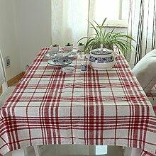 qwer Tablecloths Baumwolle Tischdecken Stoffen minimalistischen modernen Schreibtisch Flagge dicke Tischdecken idyllische runden Tisch Tischdecken Continental, rote Tischdecken, 70 * 180 cm.