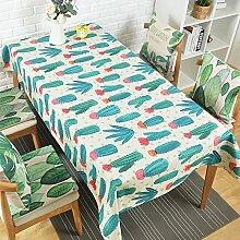 qwer Tablecloths Die Nordischen Tischdecken Gewebe Baumwolle idyllische frische kleine rechteckige Tische Tischdecke Rund - tisch Tuch die Tischdecke, Kakteen Bäume, 140 * 200 cm dick)