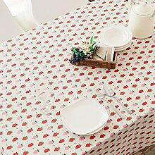 qwer Tablecloths Eine idyllische Tischdecken Gewebe Baumwolle Flachs Esstisch Couchtisch Tischdecke modernes, minimalistisches Cover kleines Handtuch frische kleine Erdbeeren, kleine Erdbeeren, 58 * 58 CM (für die Abdeckung)