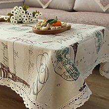 qwer Tablecloths Minimalistische Baumwolle Tischdecken Tischdecken idyllischen kleinen Esstisch und frischem Kaffee Tisch decken Kreis rechteckigen, quadratischen Tücher Stoffen, Grün Grün, 140 * 220 cm Eiffelturm
