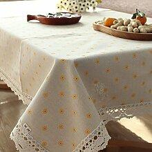 qwer Tablecloths Minimalistische Baumwolle Tischdecken Tischdecken idyllischen kleinen Esstisch und frischem Kaffee Tisch decken Kreis rechteckigen, quadratischen Tücher Stoffen, gelb gelb Gänseblümchen, 140 * 140 cm