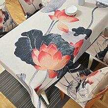 qwer Tablecloths Moderne chinesische Lotus Tabellen Gewebe Baumwolle Tischdecken runden Tisch Tuch Partei Tischdecken dicke Couchtisch Tüchern, Black Lotus, 110*110 cm Handtuch