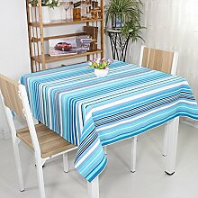 qwer Tablecloths Reine Baumwolle Waffel Leinen Tischdecken Tischdecke Esstisch Tisch Tuch das Mittelmeer blaue Streifen, 145 * 145