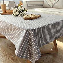 qwer Tablecloths Reine Farbe Streifen der japanischen Farbe modernen minimalistischen Esstisch tisch Baumwolle Tischdecken tv counter Stoff, Gewebe, Farbe grau Streifen, 130*200cm Kaffee