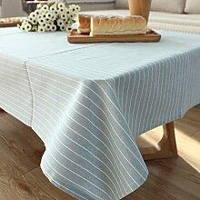 qwer Tablecloths Reine Farbe Streifen der japanischen Farbe modernen minimalistischen Esstisch tisch Baumwolle Tischdecken tv counter Tuch Stoffen, grau-blauen Streifen, 130 * 130 cm