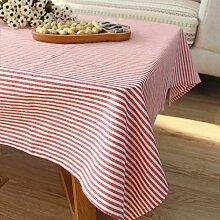 qwer Tablecloths Reine Farbe Streifen der japanischen Farbe modernen minimalistischen Esstisch tisch Baumwolle Tischdecken tv counter Tuch Stoffen, rote Streifen, 90 * 90 cm.