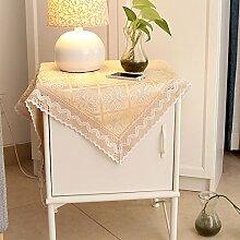 qwer Tablecloths Tischdecke stoffen Baumwollspitze rechteckige moderne, minimalistische Continental frische kleine Segmente der Landhausstil Tisch drapieren, Tischdecken, beige, 120 * 170 cm Diamond