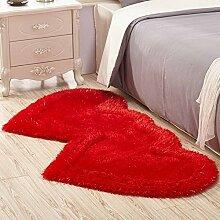 Qwer Teppich home Wohnzimmer Couchtisch Schlafzimmer mit Teppichboden ausgelegten Zimmer Bett Bett Teppiche Teppiche, 80 * 160 cm, rote Teppiche