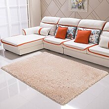 Qwer Teppich moderner, minimalistischer Wohnzimmer Couchtisch der Teppich der Schlafzimmer Bett mit volle Dicke 6 cm Gummifaden, 1,6 × 2,3 m, Licht und Farbe Teppiche