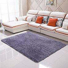 Qwer Teppich moderner, minimalistischer Wohnzimmer Couchtisch der Teppich der Schlafzimmer Bett mit volle Dicke 6 cm Gummifaden, 1,4 × 2,0 m, Carbon Teppiche