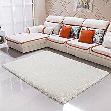 Qwer Teppich moderner, minimalistischer Wohnzimmer Couchtisch der Teppich der Schlafzimmer Bett mit volle Dicke 6 cm Gummifaden, 1.2, 1,7 m × m weiße Teppiche