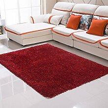 Qwer Teppich moderner, minimalistischer Wohnzimmer Couchtisch der Teppich der Schlafzimmer Bett mit volle Dicke 6 cm Gummifaden, 1,4 × 2,0 m, Wein rote Teppiche