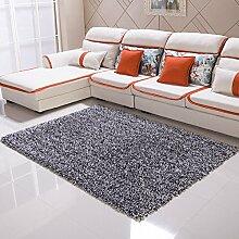 Qwer Teppich moderner, minimalistischer Wohnzimmer Couchtisch der Teppich der Schlafzimmer Bett mit volle Dicke 6 cm Gummifaden, 1,4 × 2,0 m, Schwarze und Weiße Teppiche