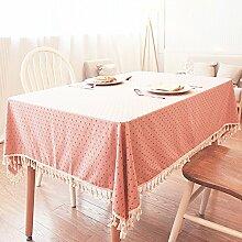 Qwer Upscale Stempel Tischdecken im Landhausstil Baumwolle rechteckige Tische Tischdecke Staubschutz Tuch, 140 * 220