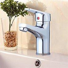 Qwer Waschtisch Armatur alle Kupfer heiße und kalte Einloch Single mischen Wasserventil Mixer Badezimmer Armatur