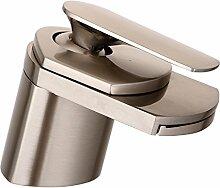 Qwer Wasserfall Cu alle anständigen Waschbecken kaltes Wasser im Badezimmer Waschtisch Armatur ,1008 Tippen gebürstet niedrig)