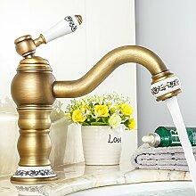Qwer Wasserhahn alle Kupfer antiken Küche Wasserhahn Sitzbank Waschtischmischer Continental Retro rotierende Einloch heiße und kalte Dusche, Porzellan angehoben für Badezimmer