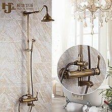 Qwer Wasserhahn antiken Duschen Kit voll Kupfer Heiße und kalte Dusche Badezimmer Dusche Sprinkler Continental Retro Armaturen für Badezimmer