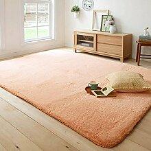 Qwer Weichem samt Teppich waschen atmungsaktiv Wohnzimmer Schlafzimmer Bett Teppiche, Tisch rechteckig 160*230 cm, Puder Farben Teppiche