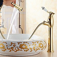Qwer Ziehen kontinentale Becken aus Kupfer kaltem Leitungswasser zu Waschbecken ausziehbare Sitzbank Waschtischmischer Low Pin-antik Farbe, hohe Pin-Gold