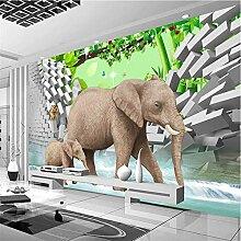 Qwerlp Individuelle Fototapete 3D Stereo Elefant
