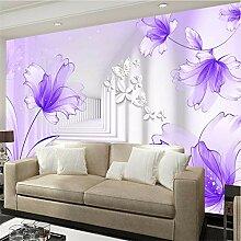 Qwerlp Lila Blumen Weiß Korridor Fototapete 3D