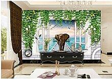 Qwerlp Weiße Ziegelstein-Blumen-Rebe-Foto-Tapete