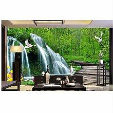 Qwerlp Ziegelsteintapete 3D Wasserfall Holzbrücke