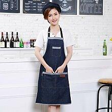 qwert Küche schürze,Einstellbare schürze Sowohl Frauen als Auch Männer schürze Jeans 2 Taschen Kaffeemaschine Restaurant Grill Haushalt schürzen-Blau
