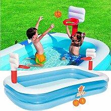 qwqqaq Tragbar Aufblasbarer Pool Mit Basketball