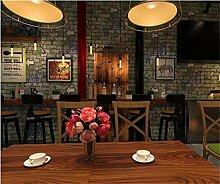 QXLML 3D Stereo Brick Tapete Persönlichkeit Graffiti Brief Pfeil Cafe Restaurant Hintergrund Vliesstoffe Tapete 10 * 0,53 (M) ( Color : White gray )