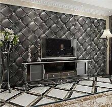QXLML 3D Stereo Soft Tapete Schwarz Europäischen Stil Leder Muster PVC-Tapete Hotel Schlafzimmer Hintergrund Tapete 10 * 0,53 (M) ( Color : Dark gray )