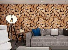 QXLML Tapete dreidimensionale 3D Retro Stein Stein Stein Tapete Restaurant Cafe Hintergrund Wand Wasserdichte PVC-Tapete 10 * 0.53 (M) ( Color : Light brown )