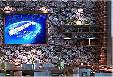 QXLML Tapeten Chinesische 3D Retro Kultur Stein Stein Stein Tapete Restaurant Cafe Hintergrund Wand Wasserdichte PVC-Tapete 10 * 0,53 (M) ( Color : D )