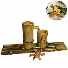 QXPuSS Wasserbrunnen Bambus Gartenbrunnen Im