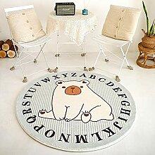 QXXKJDS Cartoon-Löwen-Teppich, rund,