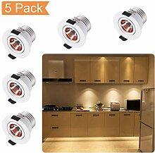QYHOME Mini Klein Einbaustrahler LED Set 5er, 3W