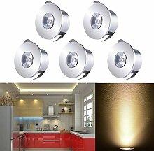 QYHOME Mini LED Einbaustrahler Set,5X 1W Warmweiß