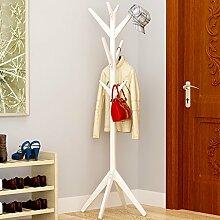 QYQYMJ Einfache kreative Baum Massivholz Garderobe Boden Mode Wohnzimmer Schlafzimmer Kleidung Rack Bag Halter (Farbe : B)