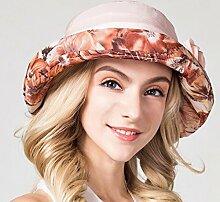 QZ HOME Hüte Frau Sommer Visier Sonnenhut Curling Sonnenschutz Fischerhut Lässig (Farbe : Orange pink)