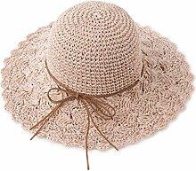 QZ HOME Strohhut Frau Frühling Und Sommer Strandmütze Zusammenklappbar Reisen Sonnenschutz Schatten Großer Hut (Farbe : Pink)