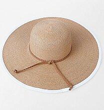 QZ HOME Strohhut Sommer Meer Urlaub Strandmütze Große Kante Sonnenhut Sonnenschutz Visier Zusammenklappbar (Farbe : Khaki)